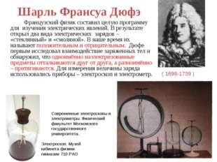 Шарль Франсуа Дюфэ Французский физик составил целую программу для изучения