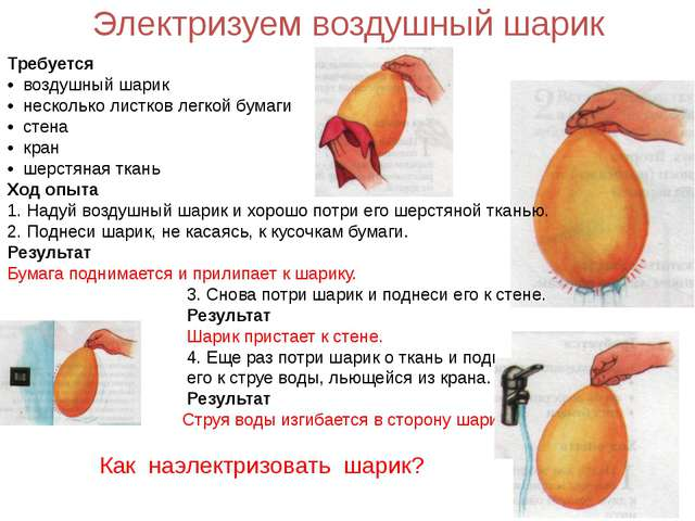 Электризуем воздушный шарик Требуется • воздушный шарик • несколько листков л...