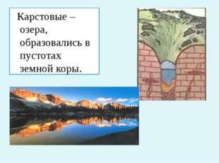 Карстовые – озера, образовались в пустотах земной коры.