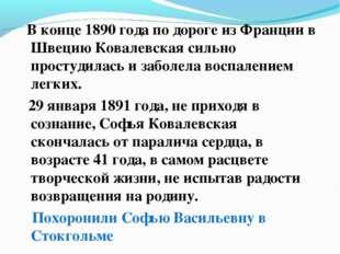 В конце 1890 года по дороге из Франции в Швецию Ковалевская сильно простудил