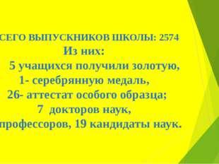 ВСЕГО ВЫПУСКНИКОВ ШКОЛЫ: 2574 Из них: 5 учащихся получили золотую, 1- серебря