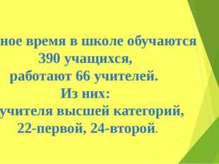 Данное время в школе обучаются 390 учащихся, работают 66 учителей. Из них: 3-