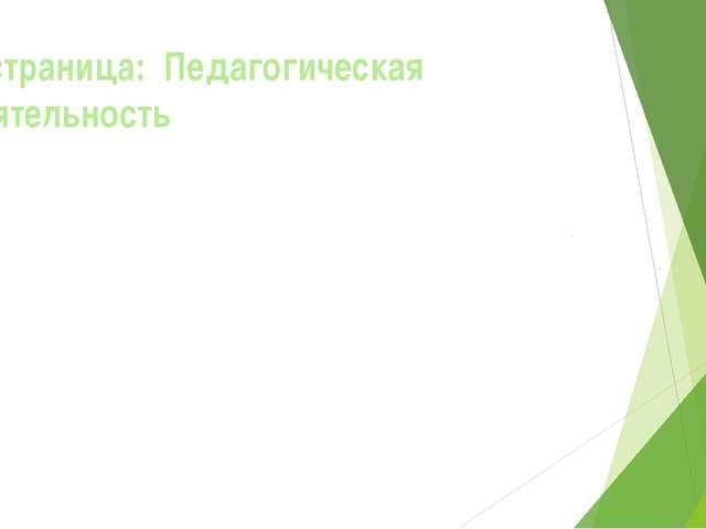 2- страница: Педагогическая деятельность