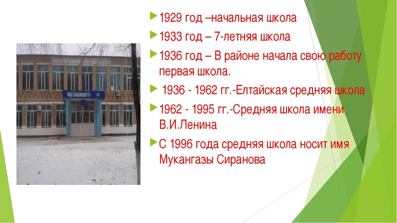 1929 год –начальная школа 1933 год – 7-летняя школа 1936 год – В районе начал...