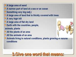 3.Give one word that means: A large area of sand A narrow part of land at a s