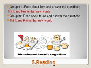 5.Reading Group # 1 .Read about flora and answer the questions Think and Reme