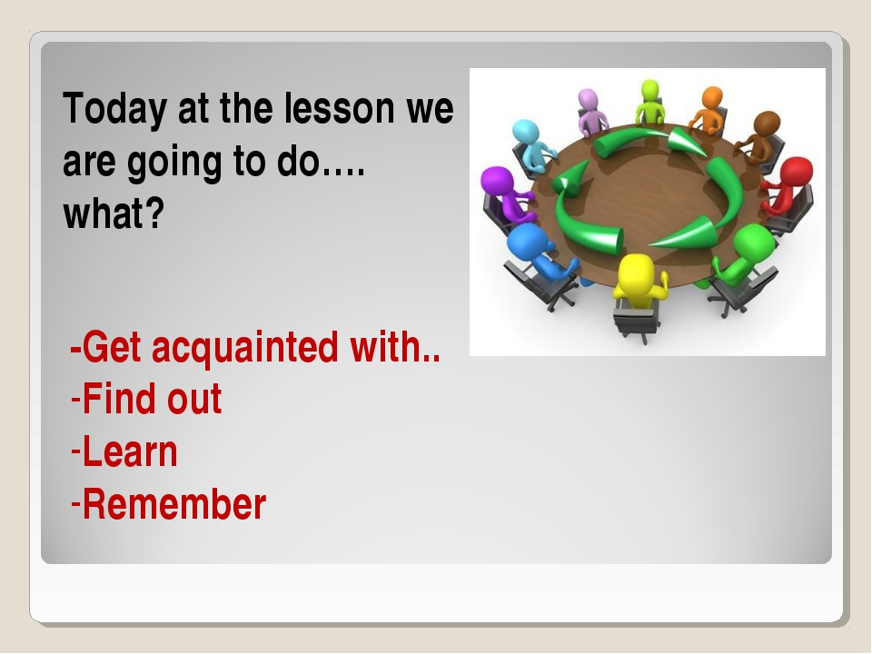 Today at the lesson we are going to do…. what? -Get acquainted with.. Find ou...