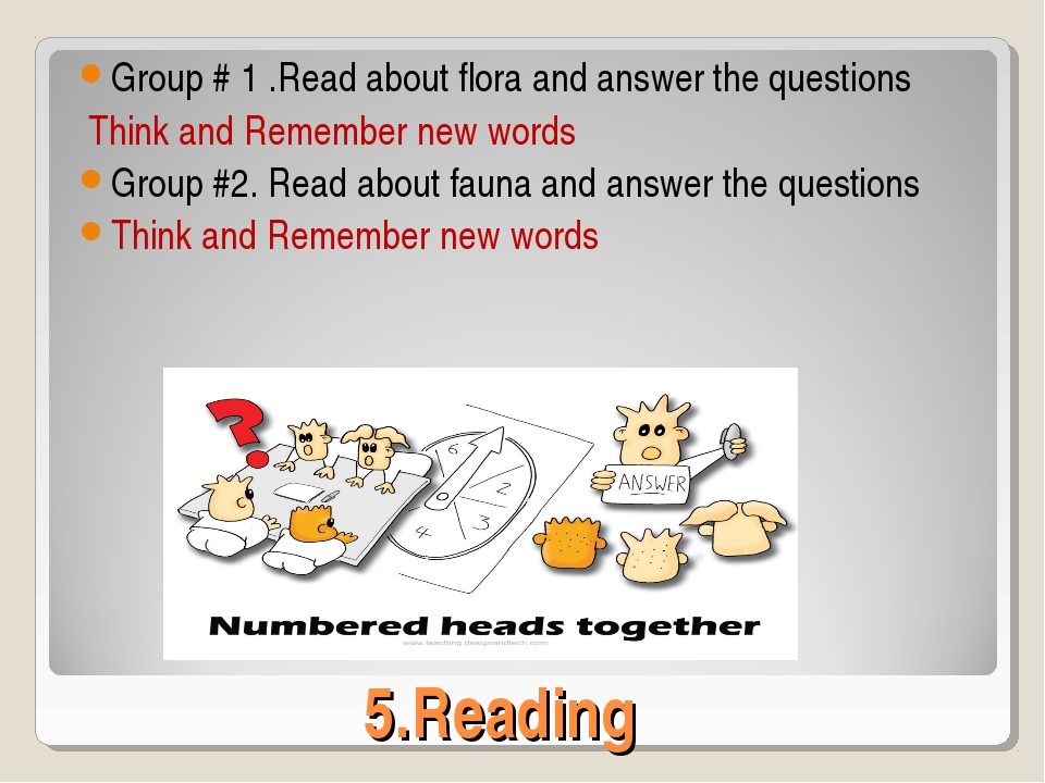 5.Reading Group # 1 .Read about flora and answer the questions Think and Reme...