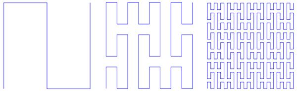 Кривая Пеано, первые три итерации