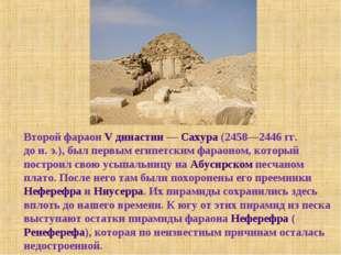 Второй фараон V династии— Сахура (2458—2446гг. дон.э.), был первым египет