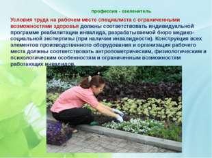профессия - озеленитель   Условия труда на рабочем месте специалиста с огра