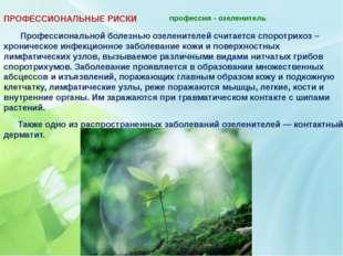 профессия - озеленитель   ПРОФЕССИОНАЛЬНЫЕ РИСКИ Профессиональной болезнью