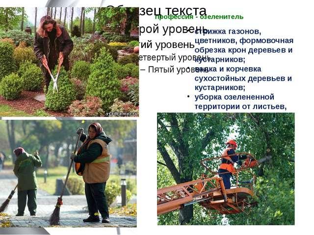 профессия - озеленитель  стрижка газонов, цветников, формовочная обрезка кро...