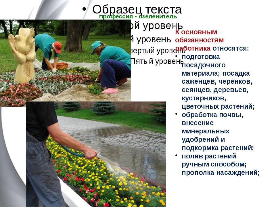 профессия - озеленитель   К основным обязанностям работникаотносятся: подг...