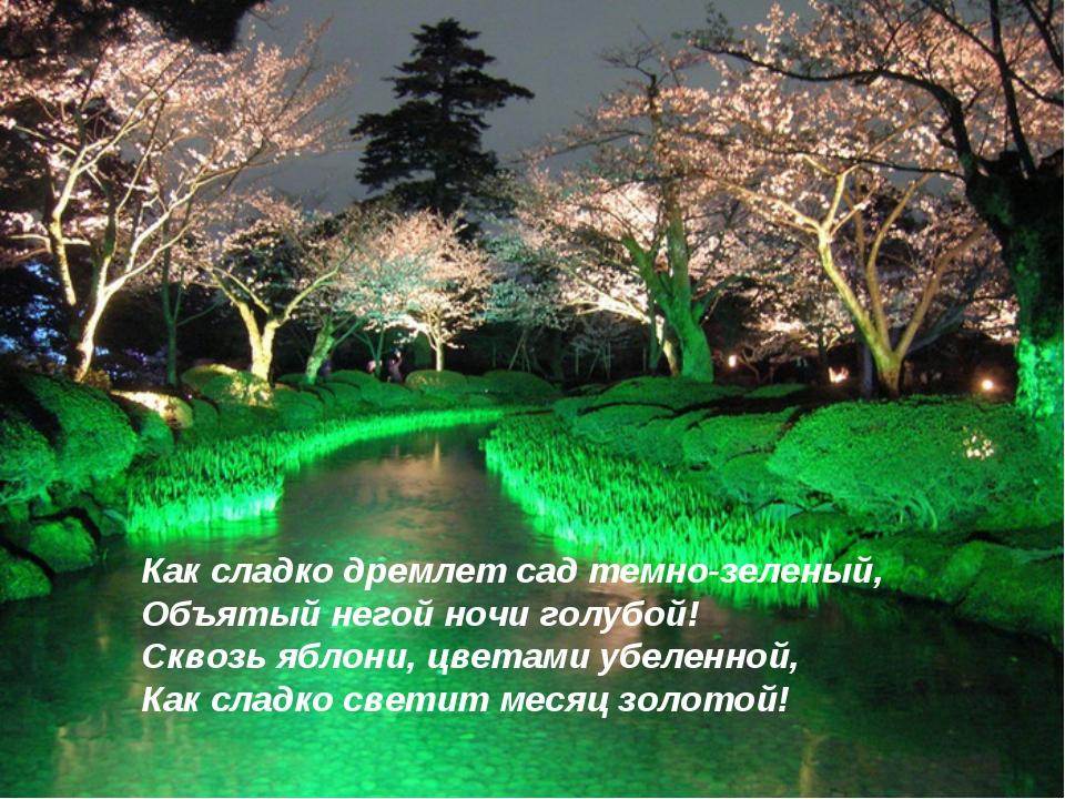 Как сладко дремлет сад темно-зеленый, Объятый негой ночи голубой! Сквозь ябло...