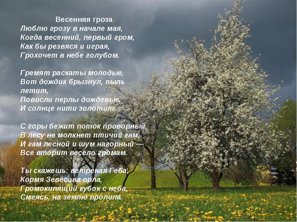 Весенняя гроза Люблю грозу в начале мая, Когда весенний, первый гром, Как бы...