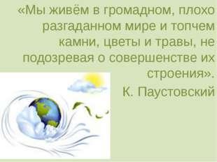 «Мы живём в громадном, плохо разгаданном мире и топчем камни, цветы и травы,