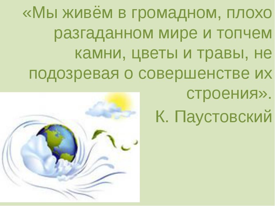 «Мы живём в громадном, плохо разгаданном мире и топчем камни, цветы и травы,...