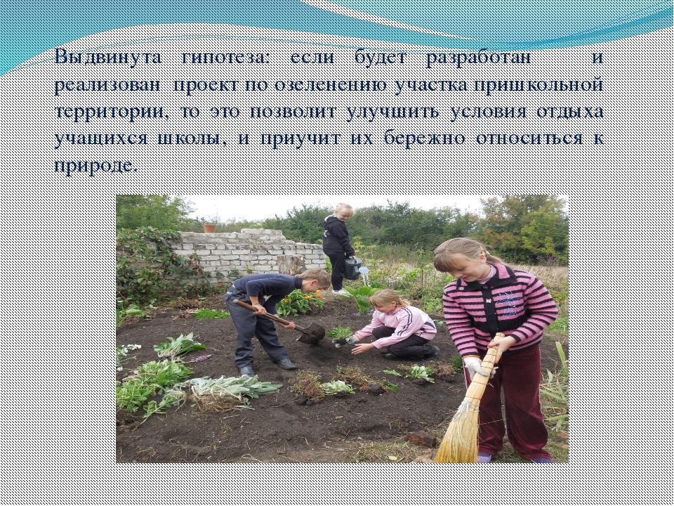 Выдвинута гипотеза: если будет разработан и реализован проект по озеленению у...