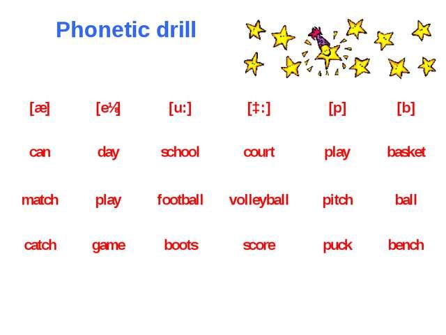 Phonetic drill [æ] [eɪ] [u:] [ɔ:] [p] [b] can day school court play basket ma...