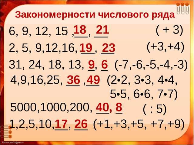 Закономерности числового ряда «Мир логики» Закономерности числового ряда 6, 9...