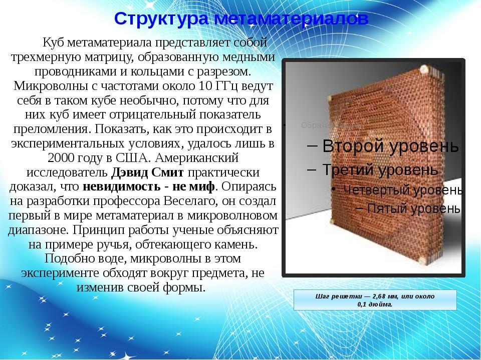 Структура метаматериалов Куб метаматериала представляет собой трехмерную мат...