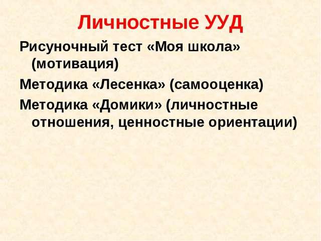 Личностные УУД Рисуночный тест «Моя школа» (мотивация) Методика «Лесенка» (са...