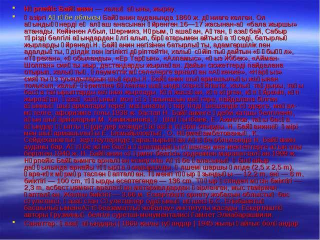 Нұрпейіс Байғанин— халық ақыны, жырау. Қазіргі Ақтөбе облысы Байғанин ауданы...