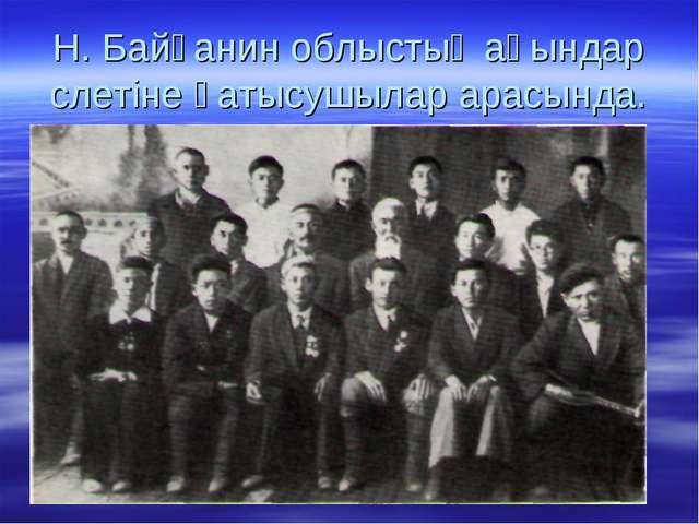 Н. Байғанин облыстық ақындар слетіне қатысушылар арасында.