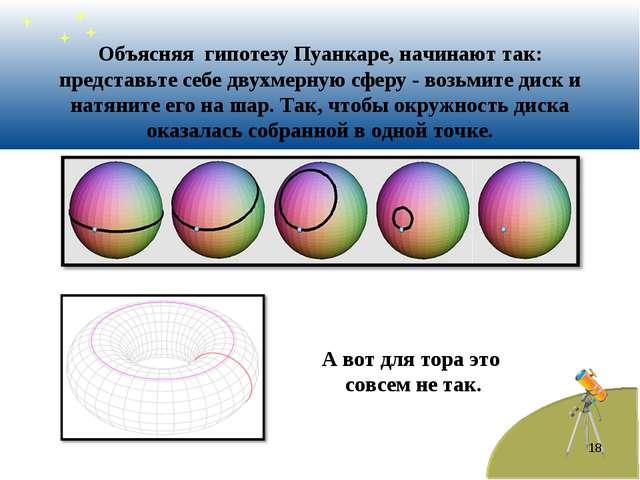 * Объясняя гипотезу Пуанкаре, начинают так: представьте себе двухмерную сферу...