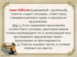 Same-Different (одинаковый - различный), Учитель создает ситуацию, ставит пер