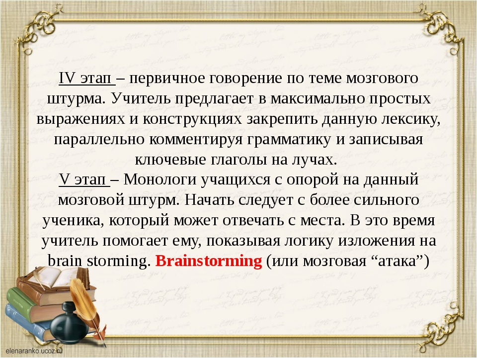 IV этап – первичное говорение по теме мозгового штурма. Учитель предлагает в...