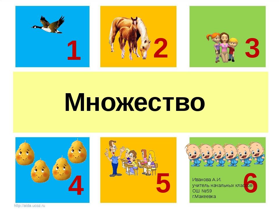 м Множество 1 2 3 5 6 4 Иванова А.И. учитель начальных классов ОШ №59 г.Макее...