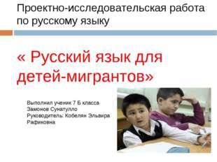Проектно-исследовательская работа по русскому языку « Русский язык для детей-