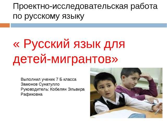 Проектно-исследовательская работа по русскому языку « Русский язык для детей-...