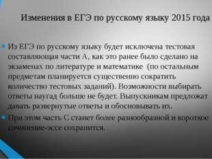 Изменения в ЕГЭ по русскому языку 2015 года Из ЕГЭ по русскому языку будет ис