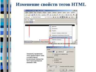 Изменение свойств тегов HTML