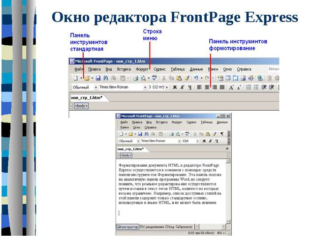 Окно редактора FrontPage Exprеss
