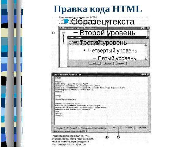 Правка кода HTML