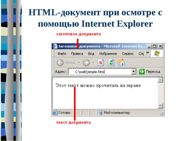 HTML-документ при осмотре с помощью Internet Explorer