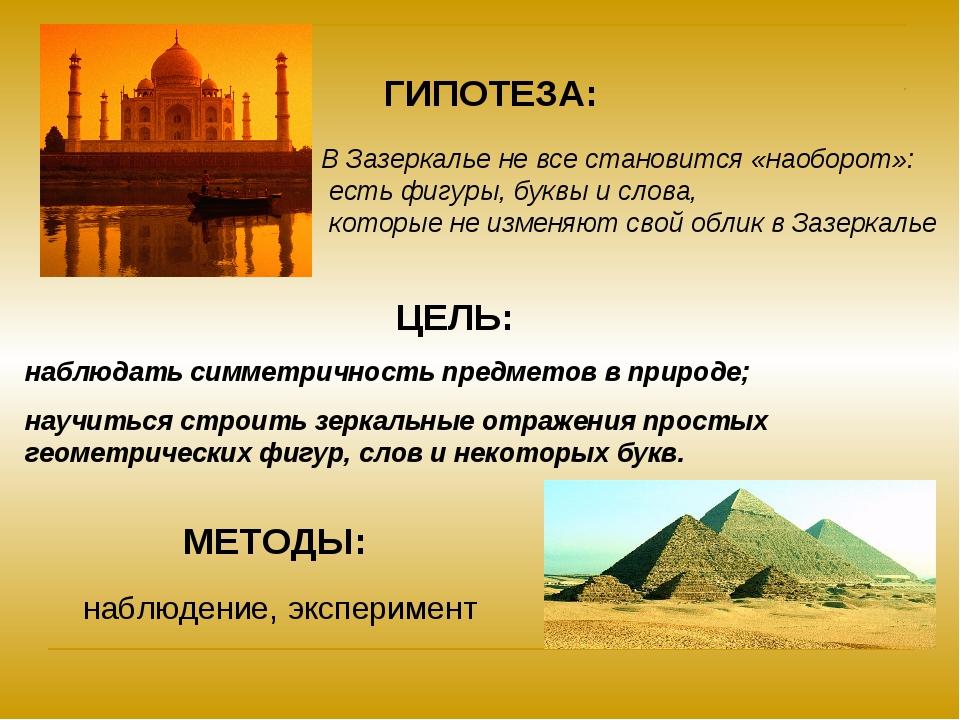 ГИПОТЕЗА: ЦЕЛЬ: наблюдать симметричность предметов в природе; научиться строи...