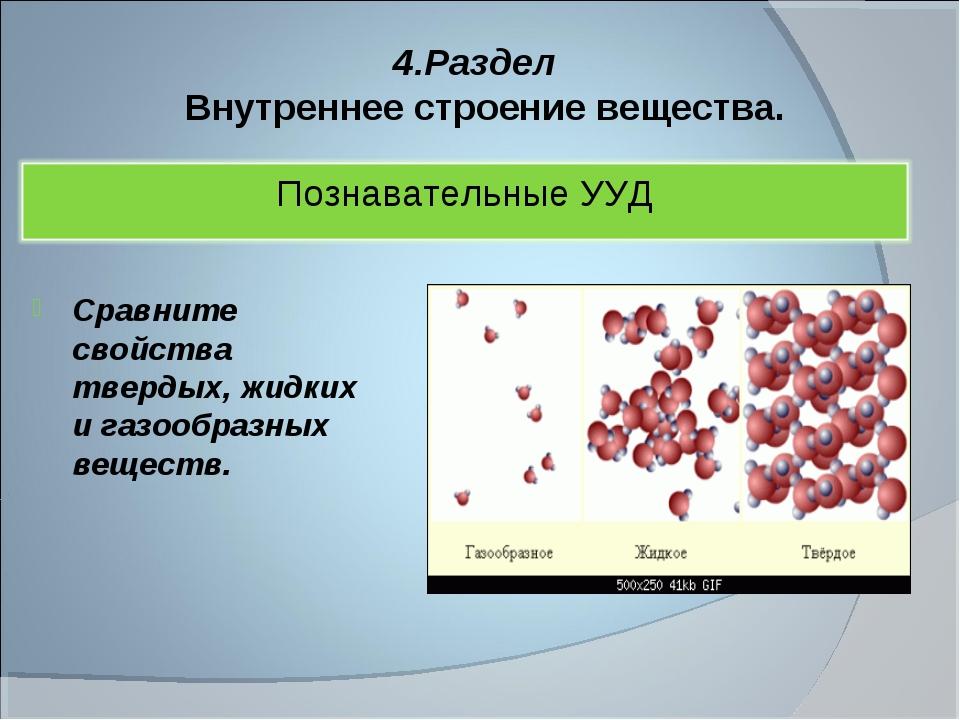 4.Раздел Внутреннее строение вещества. Сравните свойства твердых, жидких и га...