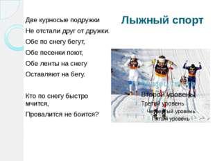 Лыжный спорт Две курносые подружки Не отстали друг от дружки. Обе по снегу бе