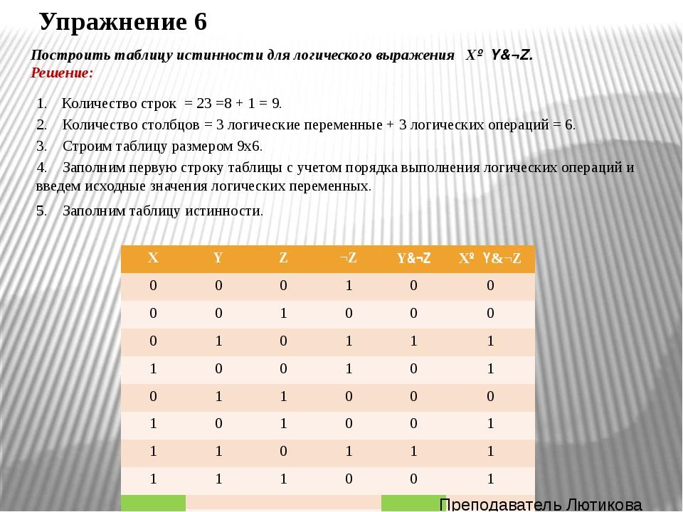 Упражнение 7 Для формулы А&(В∨¬В&¬С) построить таблицу истинности алгебраичес...