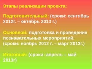 Этапы реализации проекта: Подготовительный: (сроки: сентябрь 2012г. – октябрь