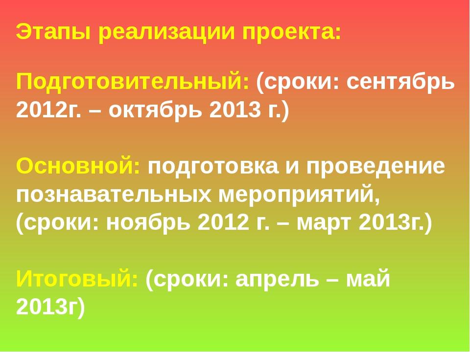 Этапы реализации проекта: Подготовительный: (сроки: сентябрь 2012г. – октябрь...