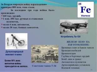 * За Вторую мировую войну израсходовано примерно 800 млн. тонн стали. За по