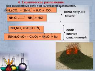 4. Термическое разложение. Все аммонийные соли при нагревании разлагаются. (N