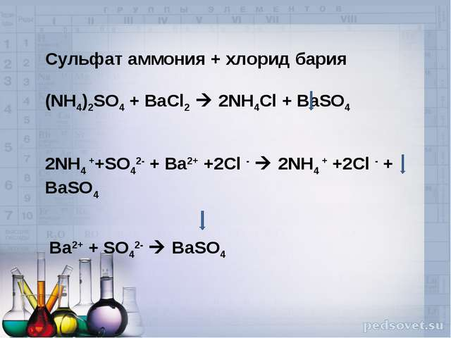 Сульфат аммония + хлорид бария (NH4)2SO4 + BaCl2  2NH4Cl + BaSO4   2NH4 ++SO...