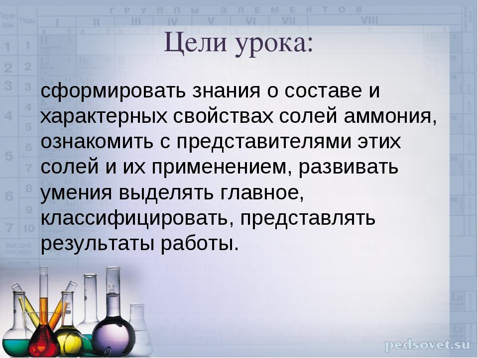 Цели урока: сформировать знания о составе и характерных свойствах солей аммон...